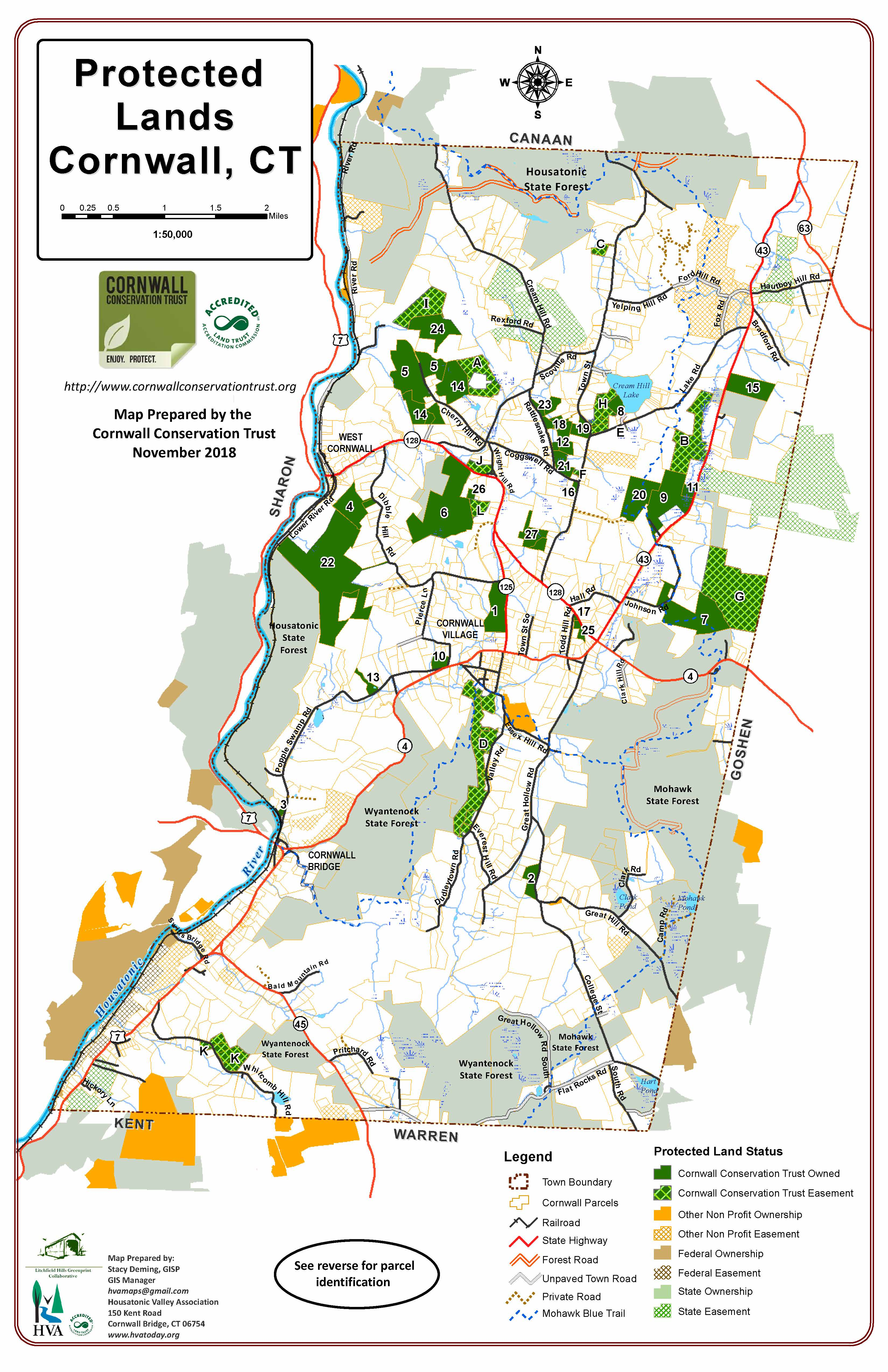 Cornwall Conservation Trust Protected Parcels Map on
